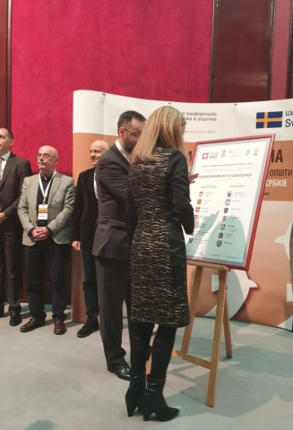 Потписивање меморандума ( плаката) Душанка Голубовић, градоначелница града Сомбора