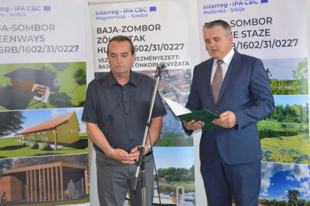Većnik grada Sombora Silard Janković i predstavnik grada Baje Kovač Čaba