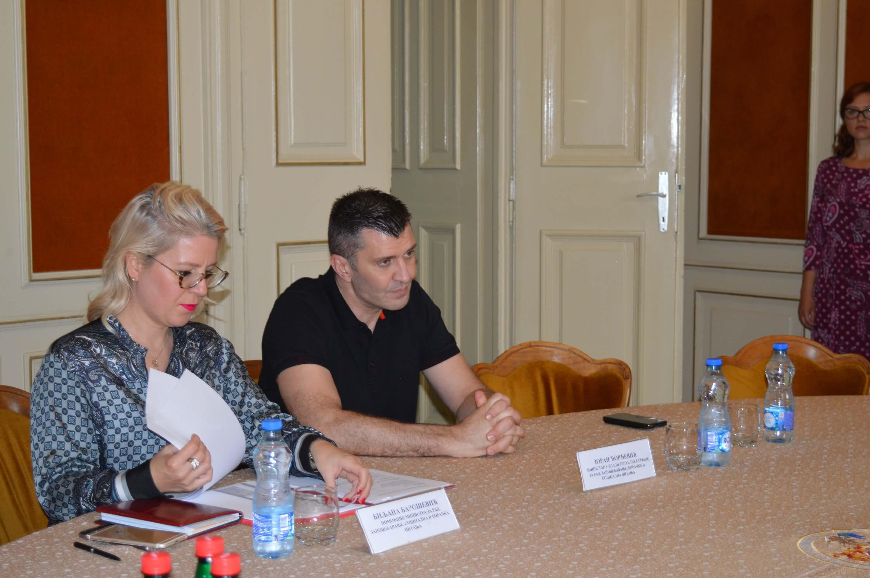 Министар за рад, запошљавање, борачка и социјална питања Зоран Ђорђевић и помоћница министра Биљана Барошевић
