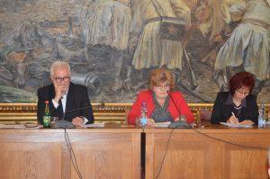 Председница Скупштине Љиљана Тица, заменик председнице Миодраг Секулић и секретарка скупштине Вера Баљак